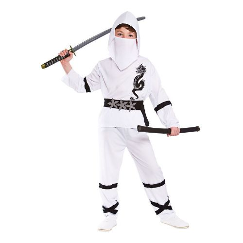 Childrens Boys Power Ninja Costume for Oriental Fighter Soldier Fancy Dress